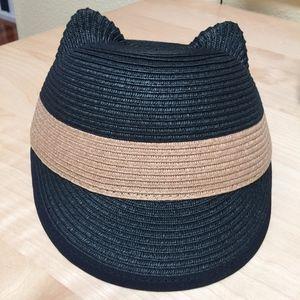 BCBG MaxAzria Woven Striped Kitty Cap/Hat Black